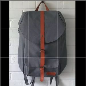 Young Living Backpack Gray Canvas Orange Accent